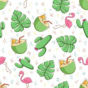 Concepto de verano tropical en patrones sin fisuras bebida de coco cactus y flamingo