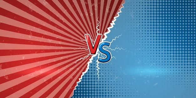 Concepto de versus en estilo retro comics. plantilla de diseño para contra, confrontación, competencia o desafío. vs letras sobre fondo retro