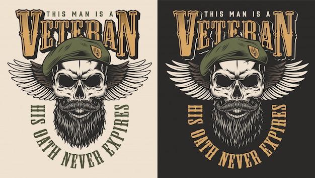Concepto de veterano emblema