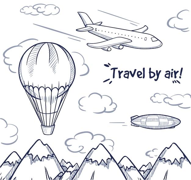 Concepto de viaje aéreo doodle