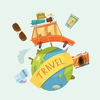 Concepto de viaje alrededor del mundo