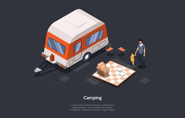 Concepto de viaje de campamento de vacaciones y verano