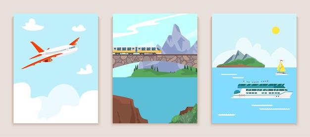Concepto de viaje conjunto de banners viaje en tren montaña carretera vuelo pasajero internacional