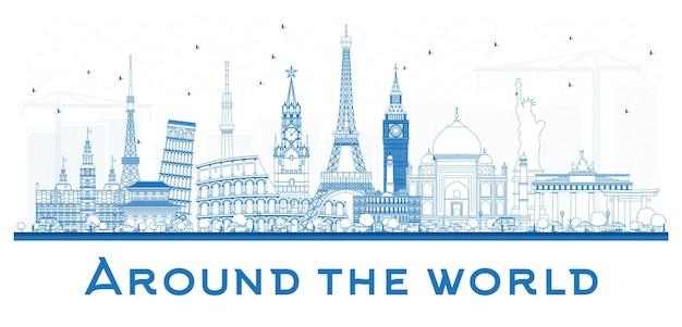 Concepto de viaje de contorno mundial con famosos monumentos internacionales. ilustración de vector. concepto de turismo y negocios. imagen para presentación, cartel, banner o sitio web.