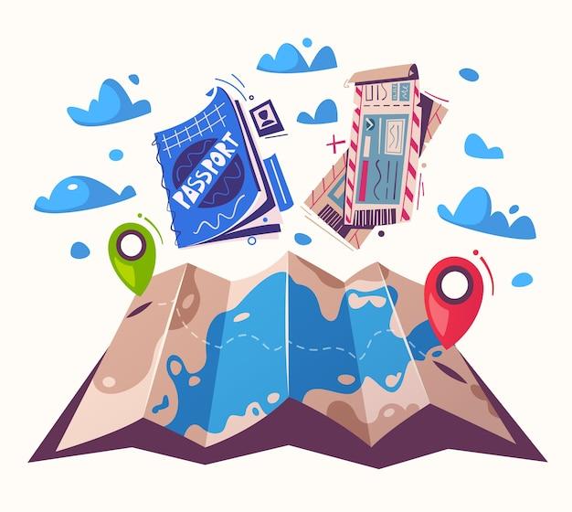 Concepto de viaje con enrutador en un mapa