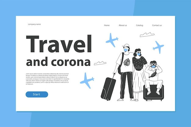 El concepto de viaje durante la epidemia de coronavirus la plantilla de la página de destino