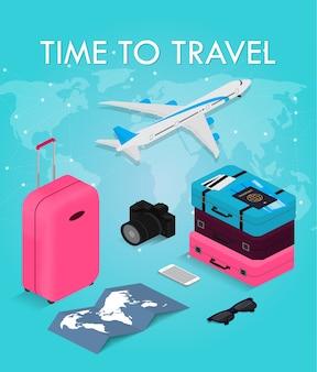 Concepto de viaje en estilo isométrico tiempo para viajar. pasaporte, boletos, maletas y avión. equipo de viaje.