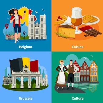 Concepto de viaje de estilo plano de puntos de referencia belgas