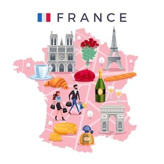 Concepto de viaje de francia con mapa de bandera y lugares de interés planos