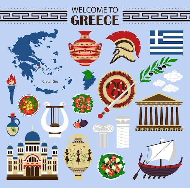 Concepto de viaje grecia emblemático diseño de iconos planos ilustración vectorial eps