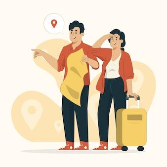 Concepto de viaje una guía con una ilustración de joven turista.