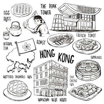 Concepto de viaje de hong kong en un exquisito estilo dibujado a mano.
