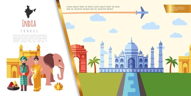 Concepto de viaje de india plana