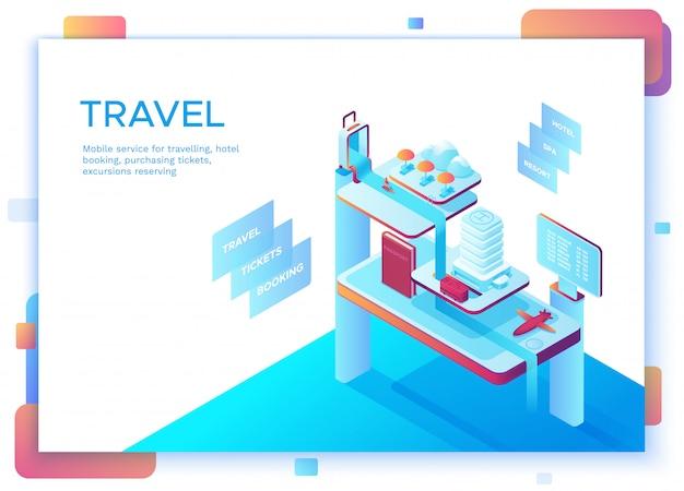 Concepto de viaje móvil, plantilla de página de destino.