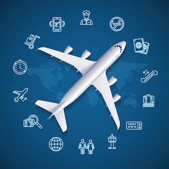 Concepto de viaje mundial del aeropuerto con mapa e icono. ilustración vectorial