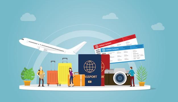 Concepto de viaje o viaje con turista y avión con pasaporte y boleto.