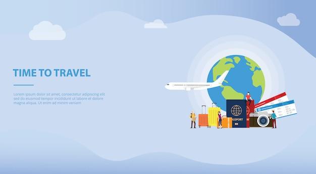 Concepto de viaje o viaje con turista y avión para la plantilla de sitio web o la página de inicio de aterrizaje