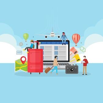 Concepto de viaje online de reserva de aplicación móvil.