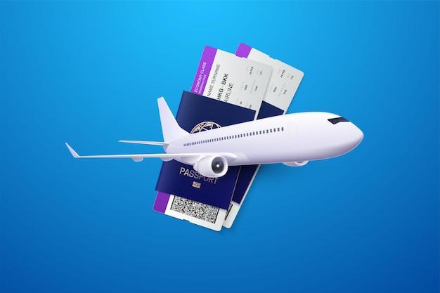 Concepto de viaje con pasaportes, tarjetas de embarque y avión.