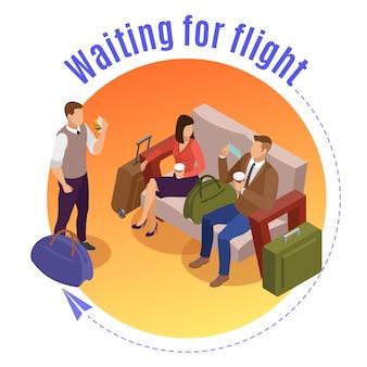 Concepto de viaje personas ronda con pasajeros esperando el vuelo en el salón del aeropuerto isométrica