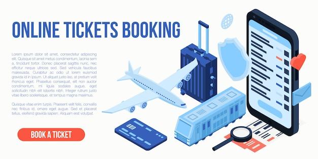 Concepto de viaje de reserva de boletos en línea, estilo isométrico