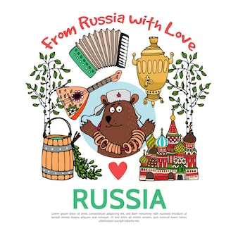 Concepto de viaje de rusia plana