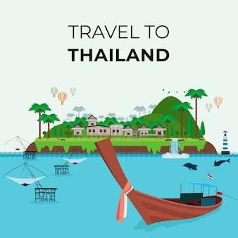 Concepto de viaje a tailandia, plantilla de página de destino de diseño web