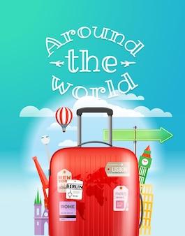 Concepto de viaje de vacaciones. ilustración de viaje de vector con la bolsa. alrededor del mundo logo