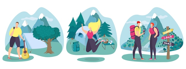 Concepto de viaje de verano de carretera de naturaleza, ilustración. carácter de personas en el paisaje de turismo de senderismo, conjunto de actividades de vacaciones.