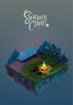 Concepto de viajes y turismo. paisaje natural con campamento de vacaciones de noche en el bosque. vector ilustración isométrica 3d.