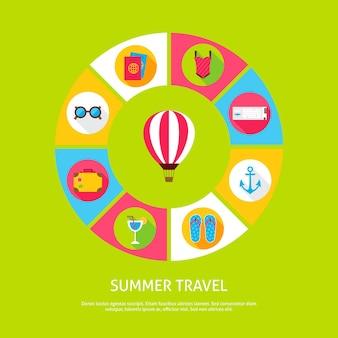 Concepto de viajes de verano. ilustración de vector de círculo de infografías de vacaciones de mar con iconos.