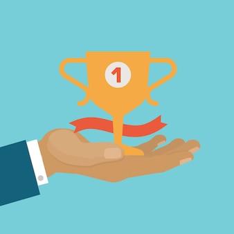 Concepto de victoria, copa de ganador de negocio, ser primero, logro de victoria mejor premio, ilustración de dibujos animados.