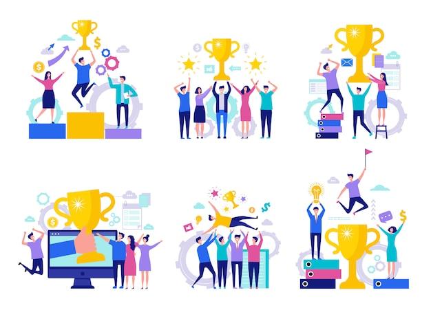 Concepto de victoria empresarial. director de gerentes de finanzas feliz y exitoso equipo de recompensas ganador con personajes de tazas