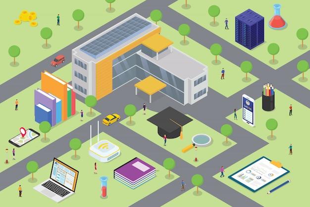 Concepto de vida del campus universitario con gran edificio y algún ícono relacionado en educación con algunos estudiantes en el área del campus con estilo isométrico moderno