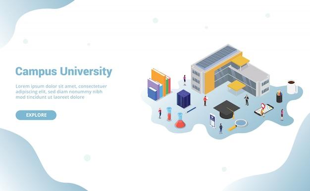 Concepto de vida del campus universitario con gran edificio y algún ícono relacionado en educación para la página de inicio de la plantilla del sitio web con estilo isométrico moderno