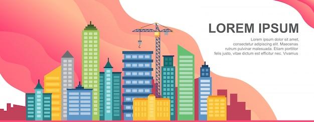 Concepto de vida de la ciudad plantilla de banner horizontal de paisaje urbano