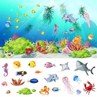 Concepto de vida de mar y océano de dibujos animados