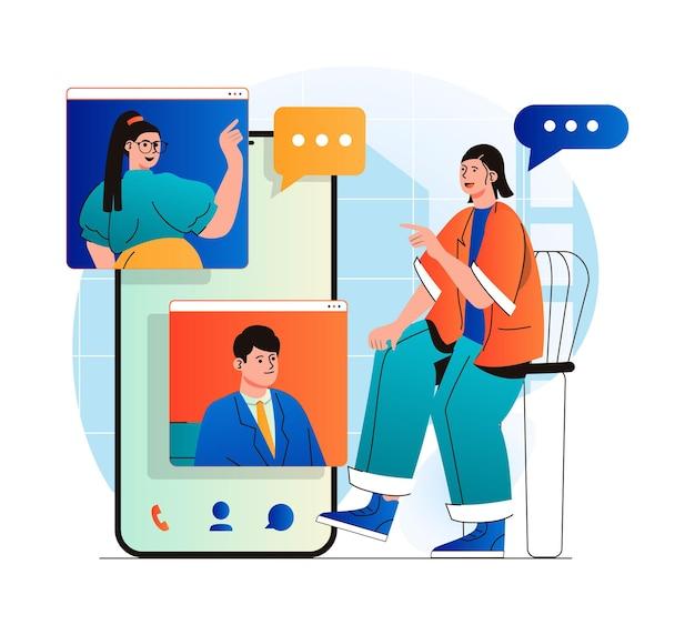 Concepto de video chat en moderno diseño plano.los amigos se comunican por videollamada grupal.