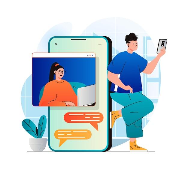 Concepto de video chat en moderno diseño plano hombre y mujer se comunican por videollamada