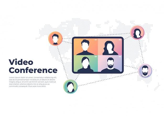 Concepto de video conferencia mundial. videoconferencia y banner de reunión en línea.