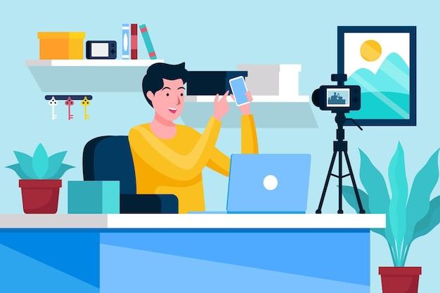 Concepto de video de grabación de influencia