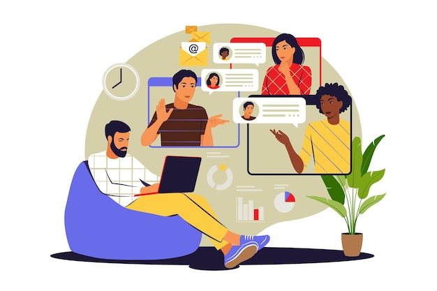 Concepto de video grupal. reunión virtual colectiva o videoconferencia. ilustración vectorial. plano.