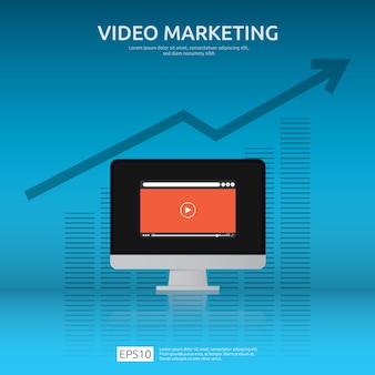Concepto de video marketing con gráfico y monitor de pantalla de pc