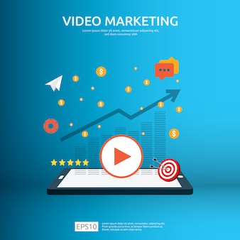 Concepto de video marketing con gráfico