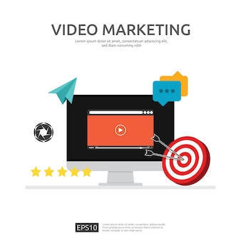 Concepto de video marketing con monitor de pantalla de pc