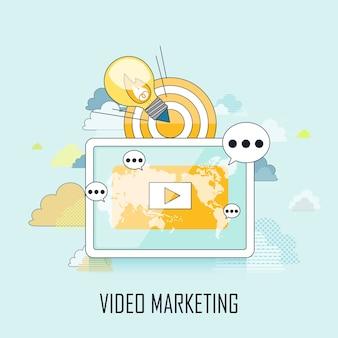 Concepto de video marketing: mostrar video en tableta en estilo de línea