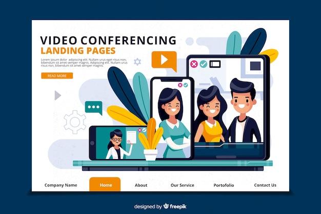 Concepto de videoconferencia para landing page