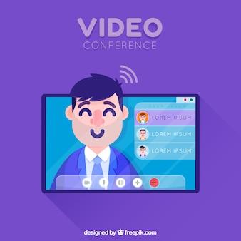 Concepto de videoconferencia para una página de destino