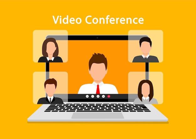 Concepto de videoconferencia en portátil. reunión en línea. videollamada con personas en la pantalla de la computadora. cuarentena, educación remota, trabajo desde casa. ilustración.