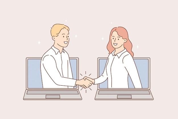 Concepto de videoconferencia y reunión online. jóvenes empresarios sonrientes dándose la mano desde las pantallas de las computadoras portátiles después de la ilustración de vector de reunión en línea